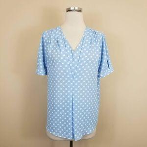 C Wonder Blue Polka Dot Short Sleeve Blouse M